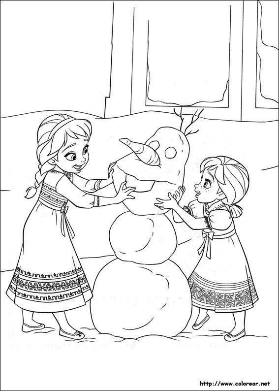 Juegos de Frozen | Colorear Anna y Elsa Creando a Olaf | Dibujos ...