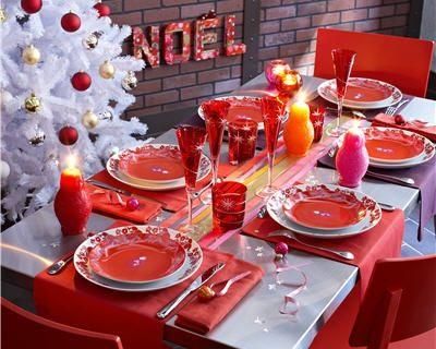 décoration fête : décoration de table de noël rouge et blanc