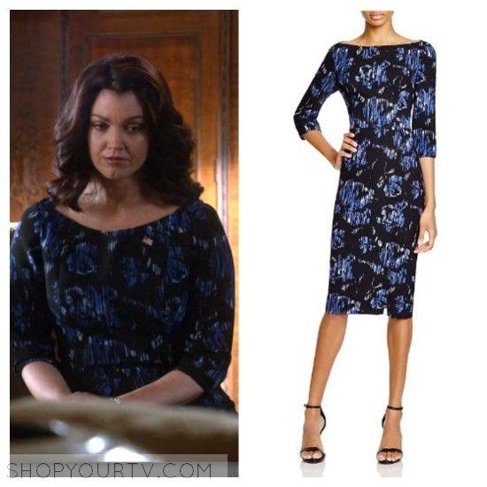 Scandal: Season 5 Episode 21 Mellie's Boatneck Black and Blue Printed Dress