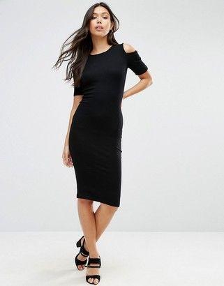 ASOS Cold Shoulder Bodycon Dress In Rib - Shop for women's Dress - Black