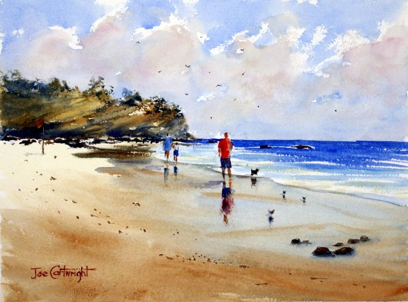 Watercolor Painting Beach Umbrella Scenes Boats And The Sea