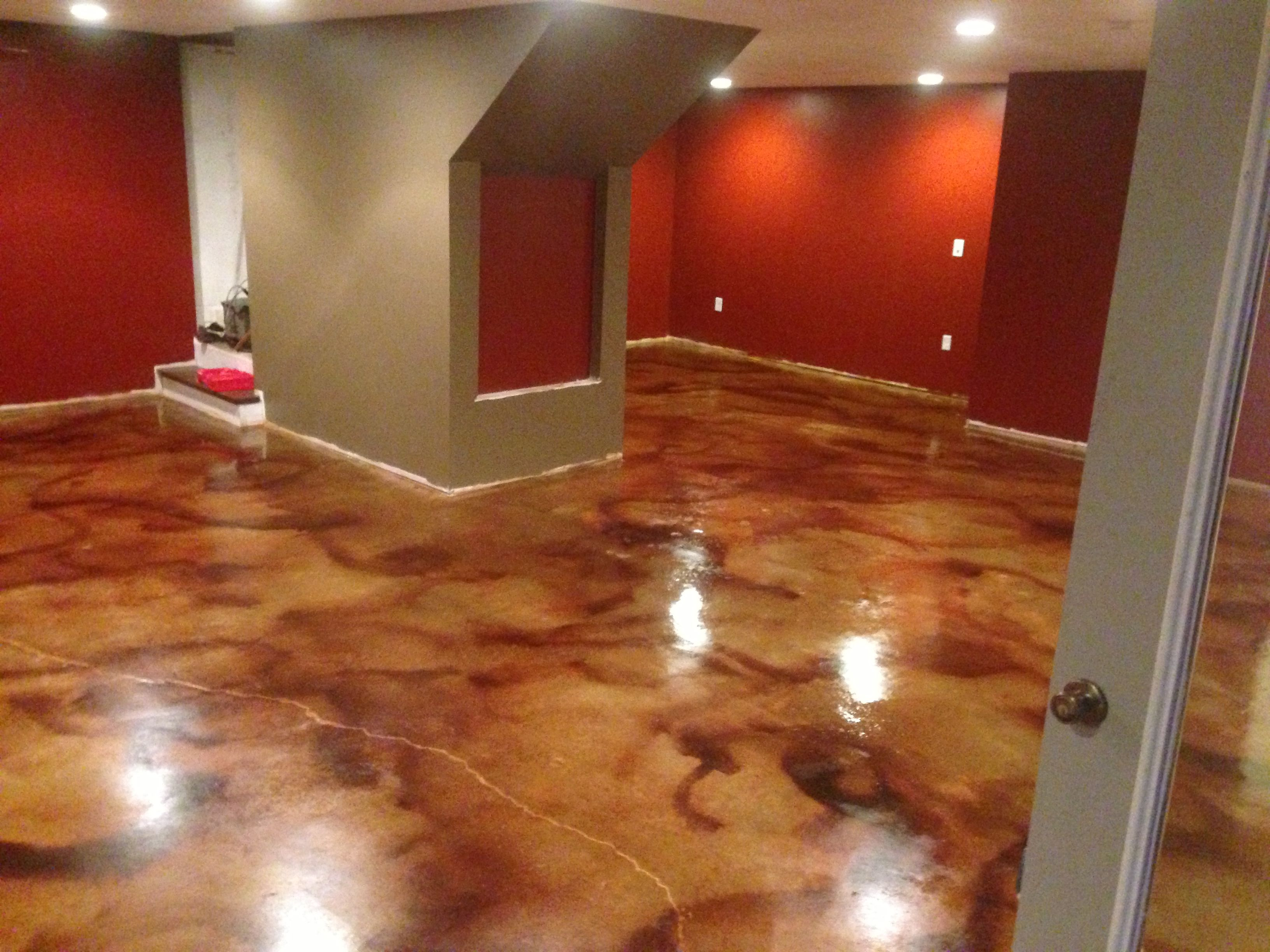 Concrete Acid Stain Photo Gallery Acid Stain Basement Flooring And Basements