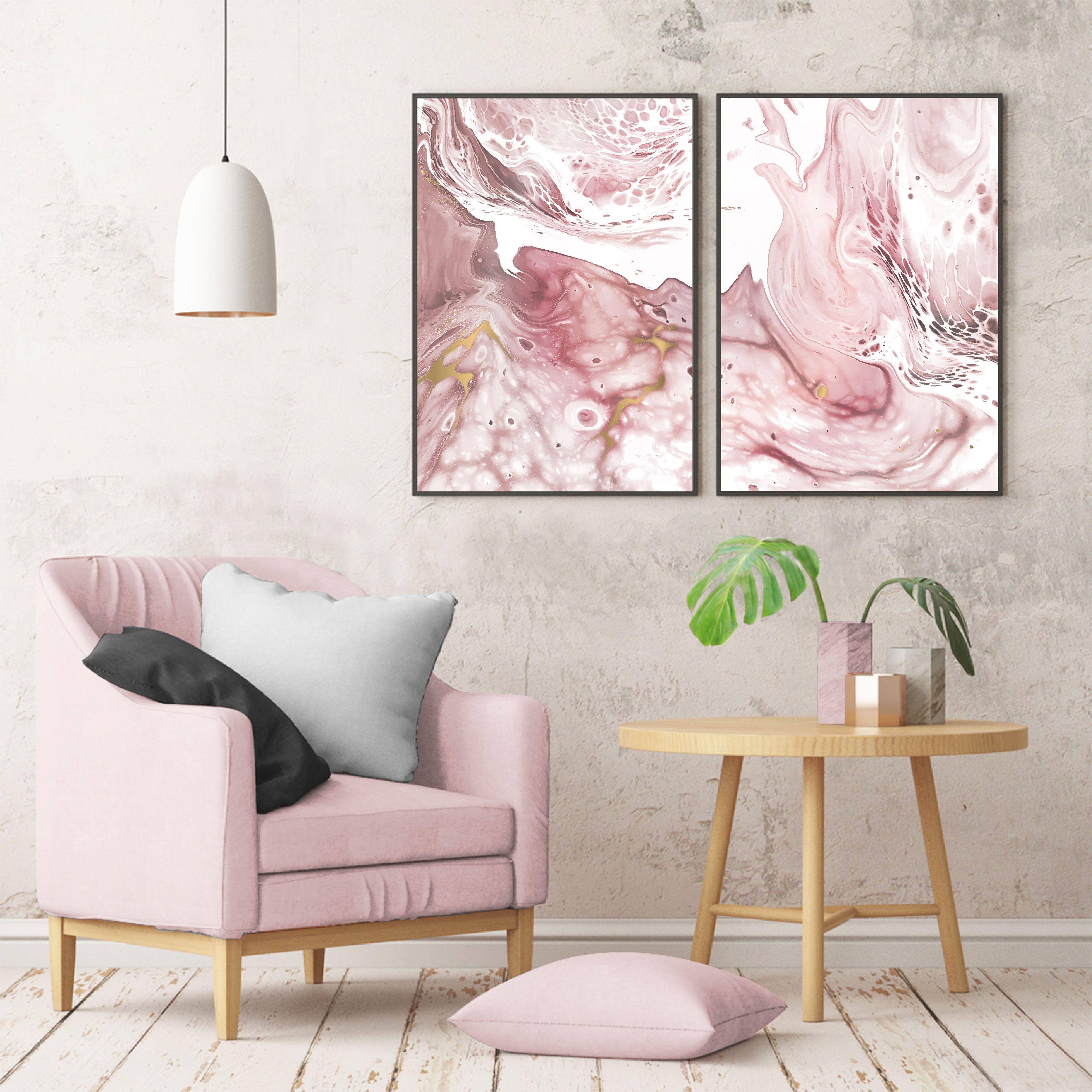 Set Of 2 Scandinavian Marble Prints Blush Pink Marble Blush Etsy In 2021 Pink Wall Art Pink Art Print Pink Walls