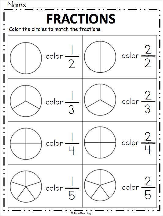 Fraction Worksheet Color The Fraction Madebyteachers Fractions Worksheets First Grade Worksheets Fractions
