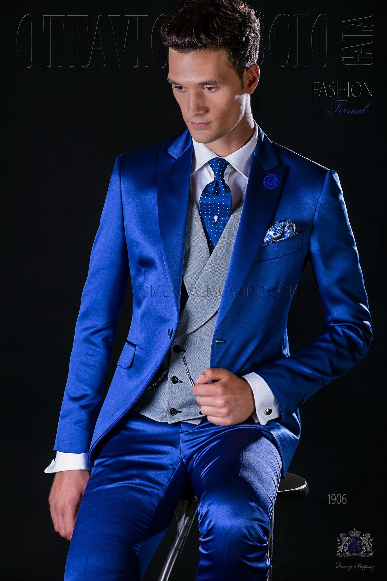italienisch royal blaue br utigam anzug mit steigendes revers und 1 knopf aus satin. Black Bedroom Furniture Sets. Home Design Ideas