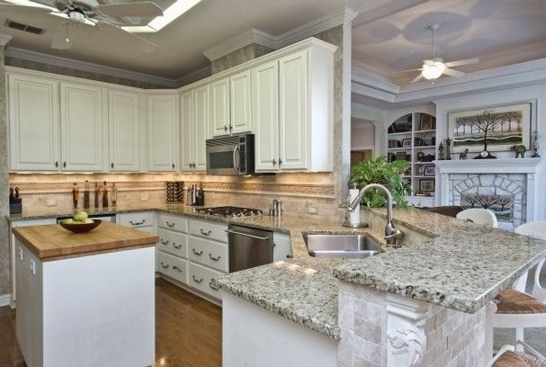 Butcher Block Island With Granite Countertops Kitchen Decor