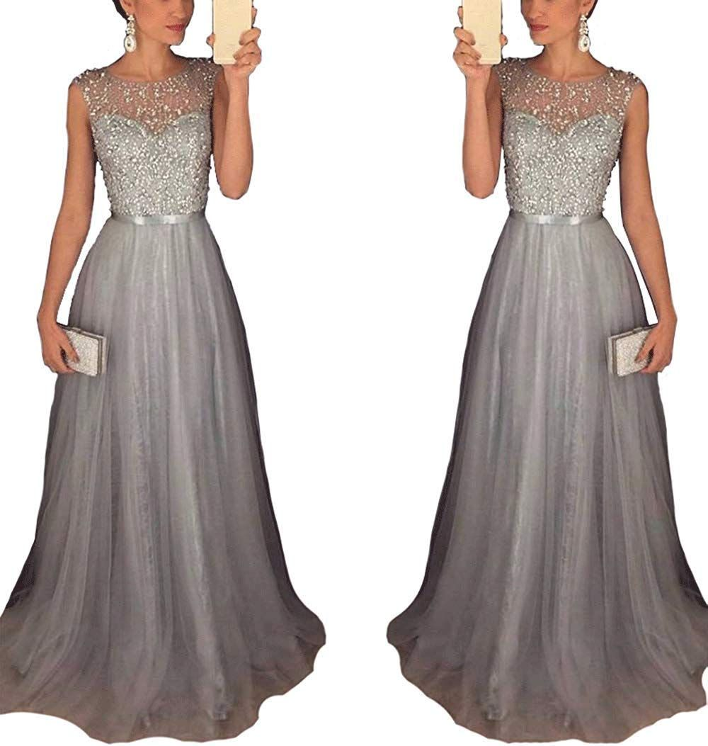 WANGJX Strass Perlen Abendkleid A-Linie Abendkleid Chiffon Tüll