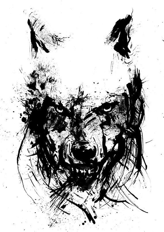 Angry Wolf, Black and White Art, Ink Drawing, Animal Art, Ink Splatter, Wolf Face, Sketch Art, Archival Fine Art Print, Wolf Print #sketchart