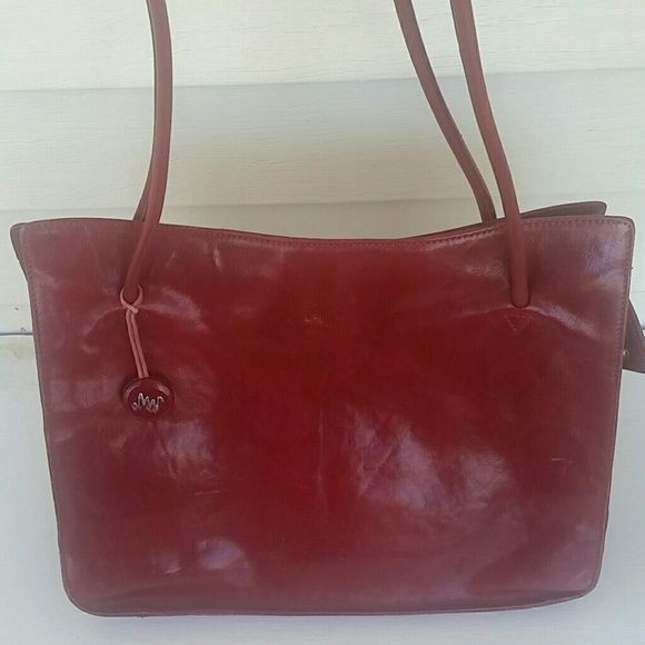 Monsac Purse All Leather Ruby Red Bags Shoulder