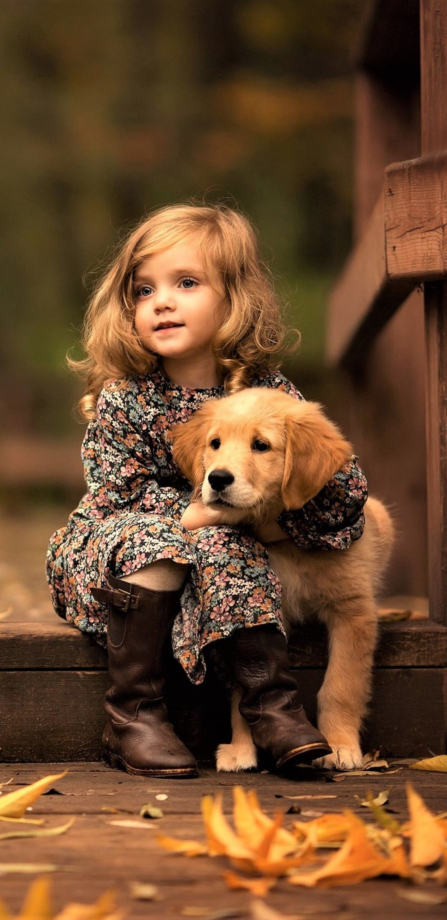 Little Girl With Golden Retriever Puppy In 1440x2960 Resolution