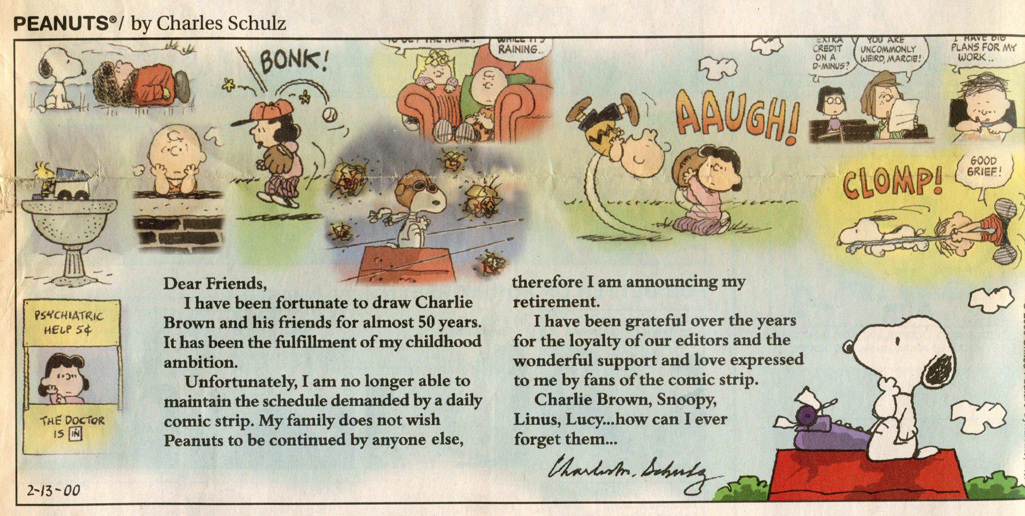 February 13 2 copies of the last Peanuts comic strip by Charles Schulz 2000