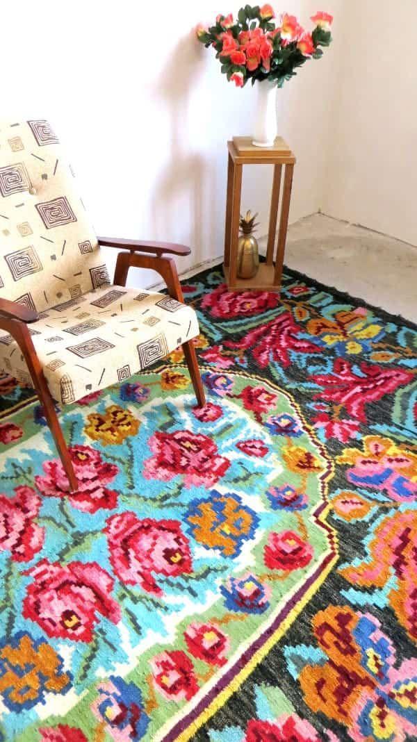 Kilim ancien rose rug area oushak rug large azilal rug berber rug - Alfombras patchwork baratas ...