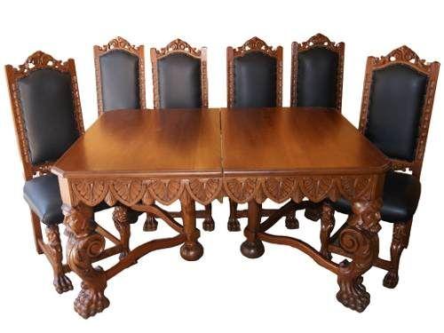 Comedor colonial espa ol seis sillas 7 usd mexico for Muebles de comedor antiguos