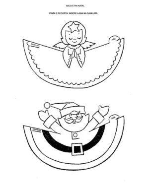 Pai Natal E Anjo Para Recortar 3d Decoracoes De Natal Para
