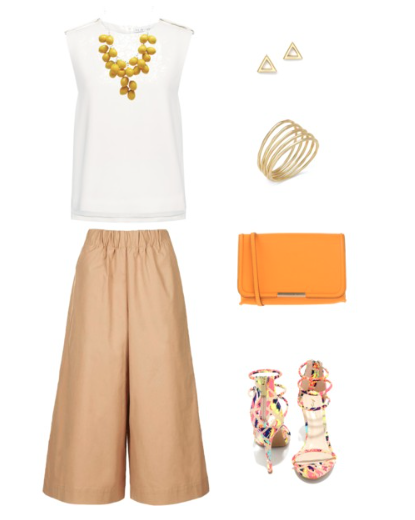 Add a pop of color to these basic summer neutrals with bright accessories.  These khaki culottes and cream shell work well with almost any bright color...