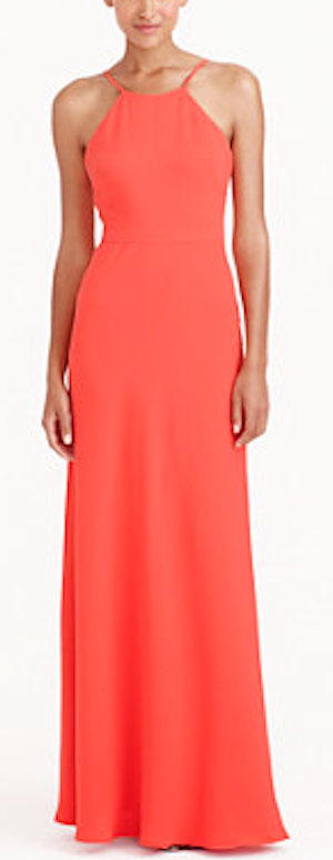 longe crepe orange bridesmaid dress
