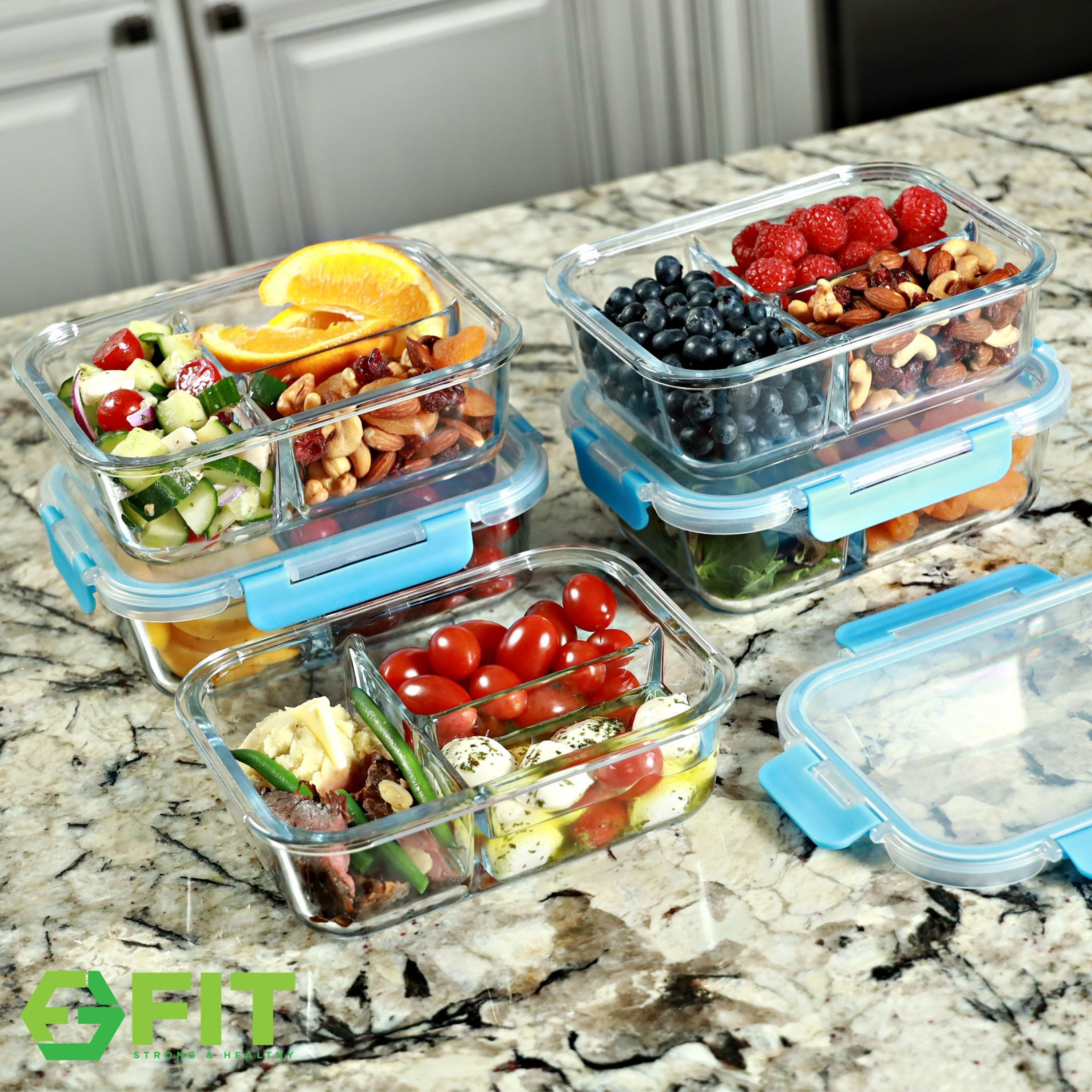 3 Compartment Meal Prep Food Storage Containers By Fit Strong