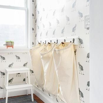 Laundry Room Hampers Hanging From Wall Hooks Laundry Room Closet