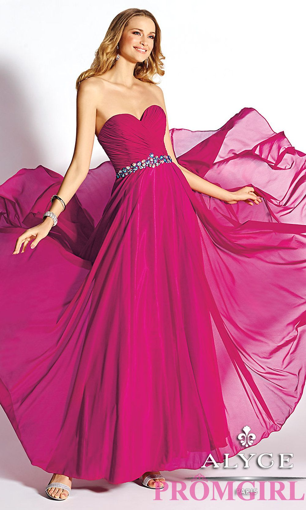Stunning raspberry pink floor length strapless prom dress by Alyce |  Available at promgirl.com