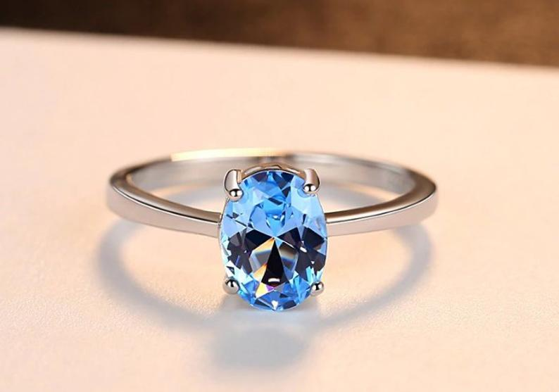 925 Sterling Silver Handmade Ring Jewelry Gift For Her High Quality Blue Topaz Men/'s Ring Anniversary Ring Cushion Shape Stone Rings