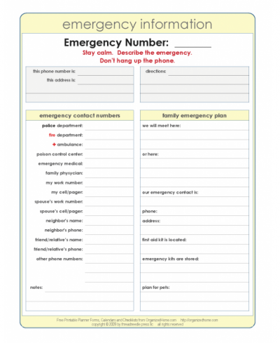 Printable Emergency Plan Template  Emergency Preparedness Binder