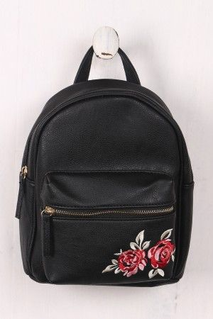 0728f2d83d68 Vegan Leather Rose Embroidery Mini Backpack