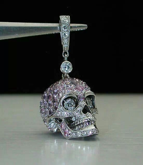 18 Carat Gold Pink Sapphire And Diamond Skull Pendant