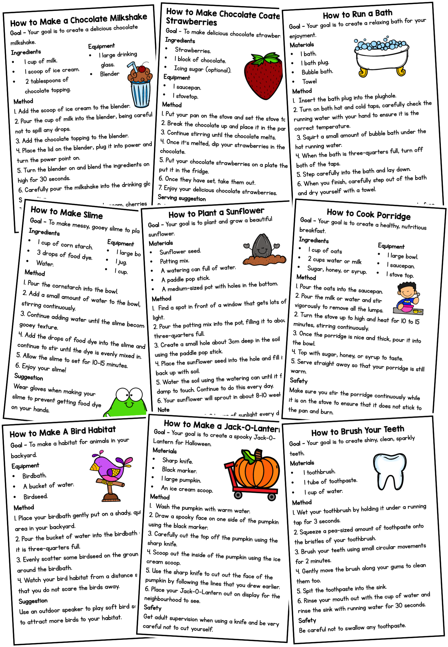 11++ Procedural text reading comprehension worksheets Top