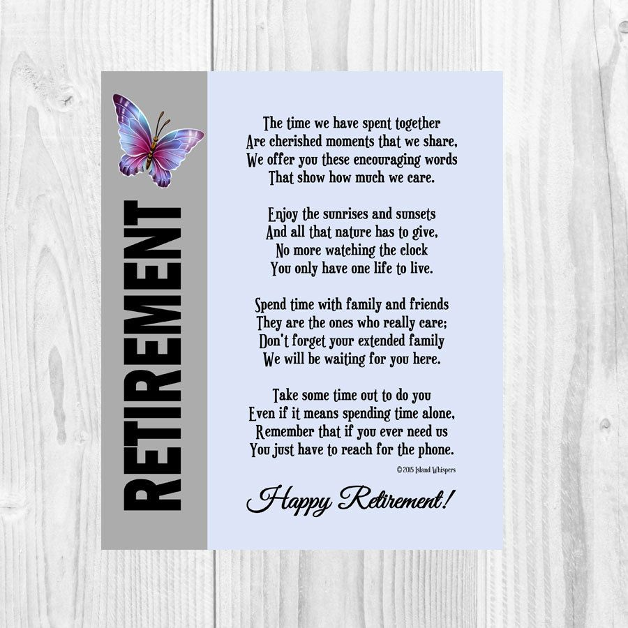 Retirement Poem, Retirement Gift, Co-Worker Retirement ...