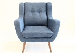 Greve gråblå stol i tekstil