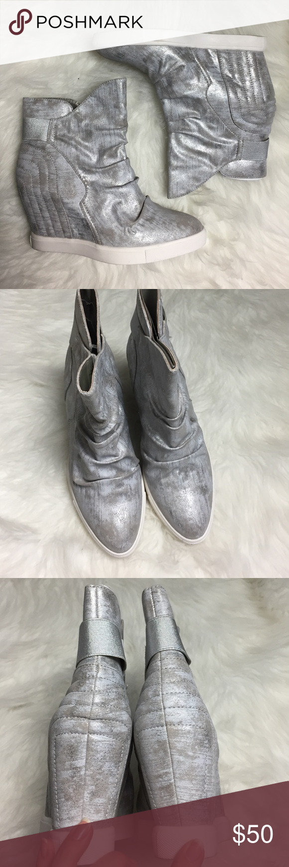 8a09906ff507 Jennifer Lopez Silver   Grey Wedge Bootie 10 So cool! Hidden 3