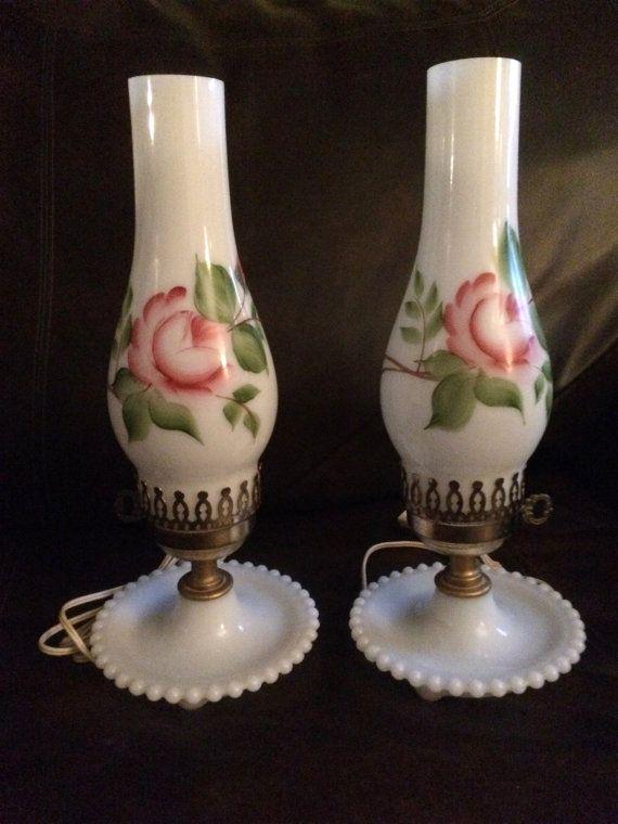 Vintage Milk Glass Lamp Pair Hurricane Shade Hand Painted Milk