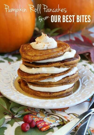 Pumpkin Roll Pancakes  www.holidaycottagepage.com/pumpkin-roll-pancakes/