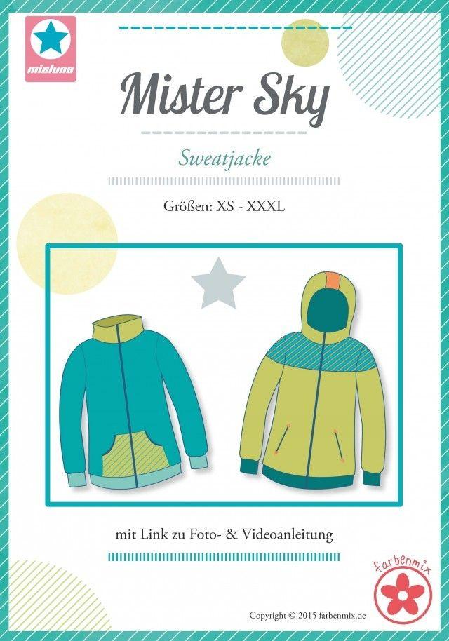 413bebe80c Sky, Sweatjacke, Papierschnittmuster - farbenmix Online-Shop -  Schnittmuster, Anleitungen zum Nähen