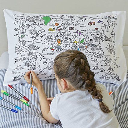 Doodle World Map Pillowcase, Color Your