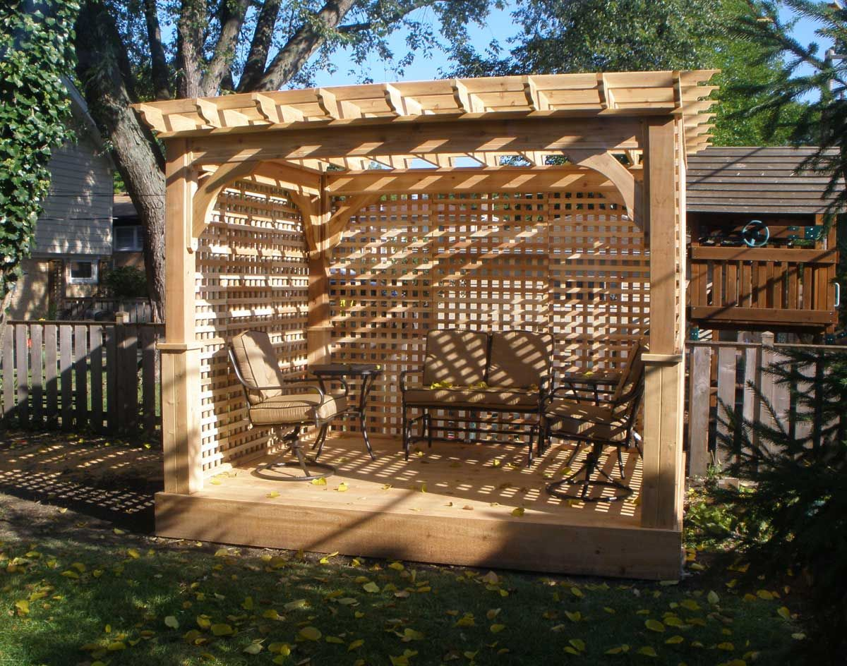 Free standing pergola on wooden deck pergolas and decks Wood deck designs free