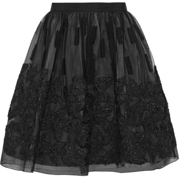 Alice + Olivia Pia sequin-embellished appliquéd tulle skirt (€325) ❤ liked on Polyvore featuring skirts, mini skirts, black, sequin mini skirt, sequin skirt, tulle skirt, mini skirt and tulle mini skirt