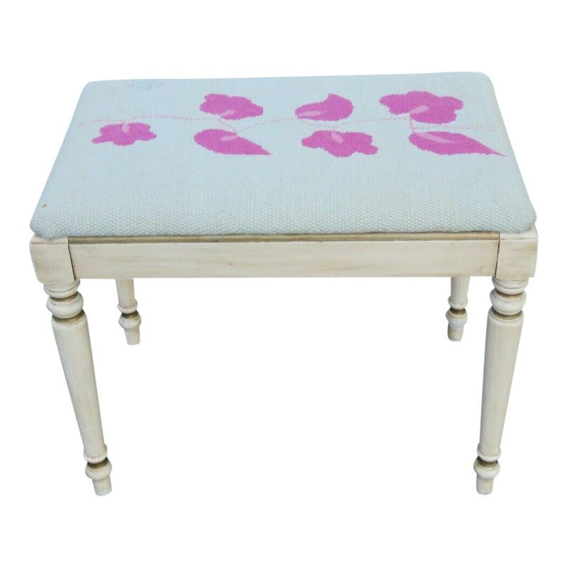 Early 1900s Shabby Chic Distressed Painted Vanity Stool Bench By Kindel In 2020 Painted Vanity Vanity Stool Shabby Chic