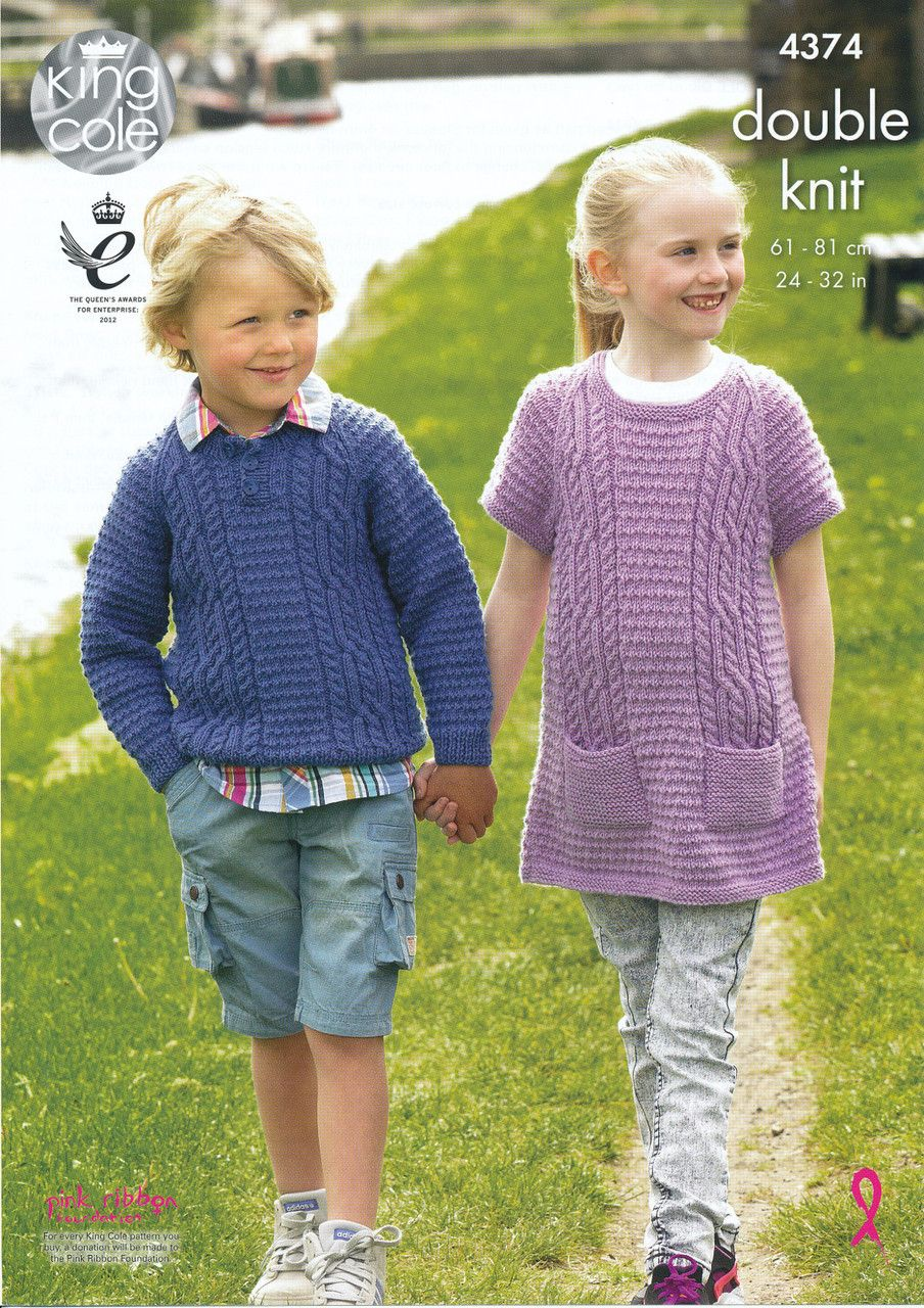 King Cole Girls Double Knitting Pattern Ribbed High Neck Jumper /& Waistcoat 4777