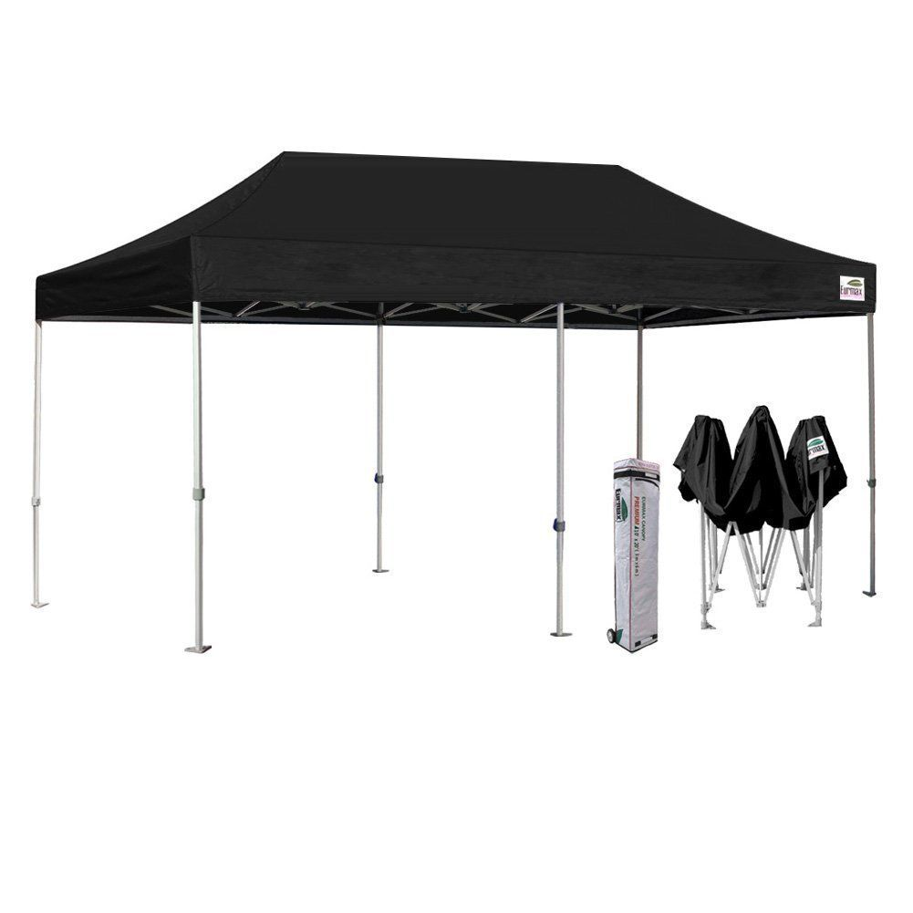 Eurmax 10 X 20 Premium Ez Pop Up Canopy Wedding Party Tent Gazebo Shade Shelter Commercial Grade Bonus Wheeled Bag Black Canopy Outdoor Canopy Tent Outdoor Party Tent