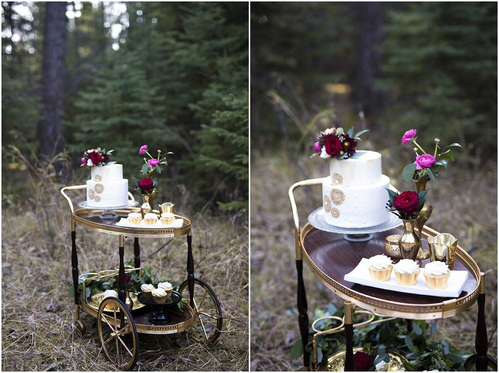 Outdoor Wedding Reception - Moody Romantic Marsala Magenta Color Tones - Candles - Copper Chargers - Outdoor Dining Table for Wedding Guests | Gold White Wedding Cake