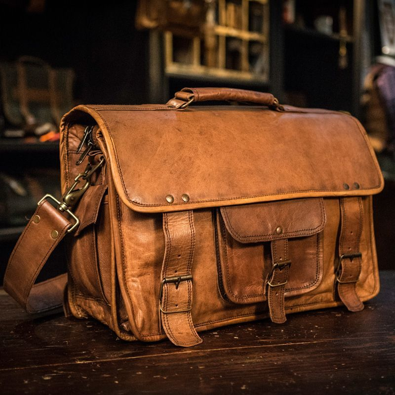 630e8911119c1 Vintage and Authentic Camel Leather Laptop Messenger Bag - Buffalo Jackson  Trading Co.-SR