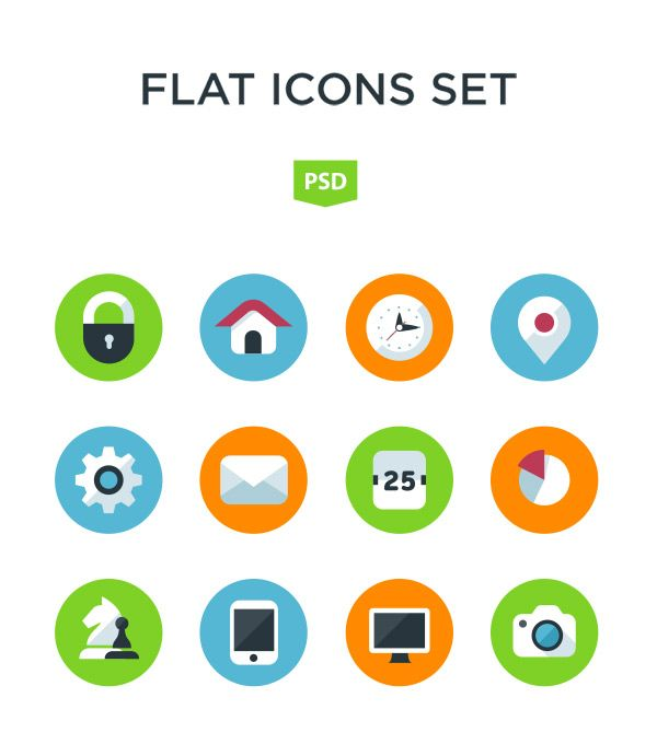 Free Flat Icon Set   Icons   Flat design icons, Icon design