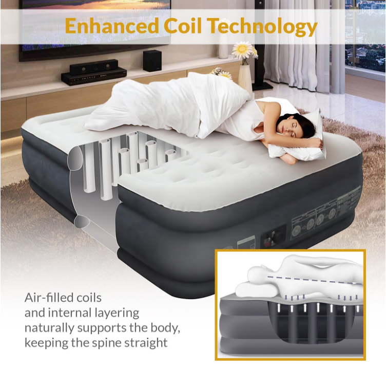 King Koil Queen Size Luxury Raised Air Mattress Best Inflatable Airbed With Built In Pump Elevated Raised Air Matt Air Bed Air Mattress Spring Air Mattress
