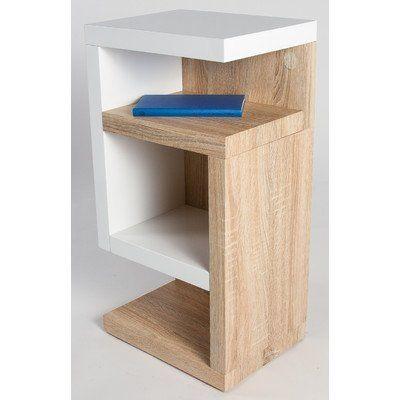 """HL Design 01-08-109.3 Boxspring-Nako """"Henry"""", 40 x 28 x 69 cm, links - Nako, Rollen verdeckt, weiß hochglanz / Sonoma eiche hell"""