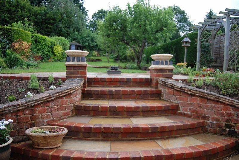 Best Red Brick Steps Sloped Garden Garden Stairs Garden Steps 400 x 300