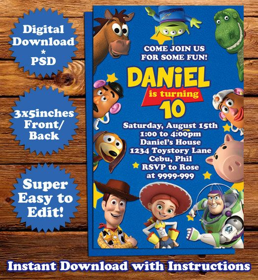 Instant download disney 39 s toy story birthday invitation for Toy story invites templates free