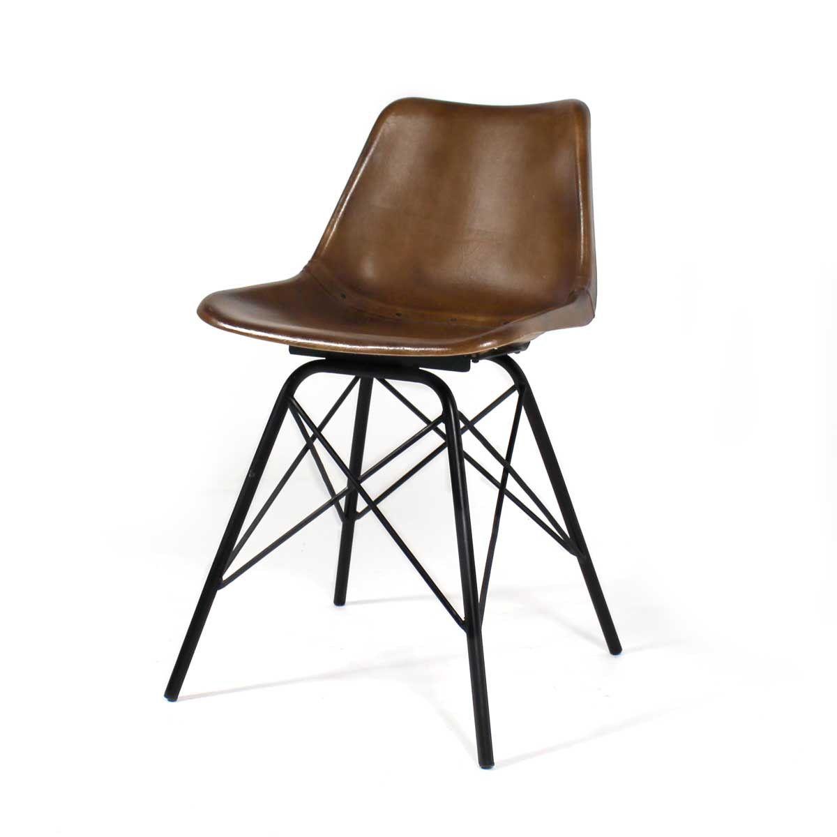 Chaise Industrielle Cuir Pieds Tour Eiffel Chaise Industrielle Chaise De Salle A Manger Chaise Cuir
