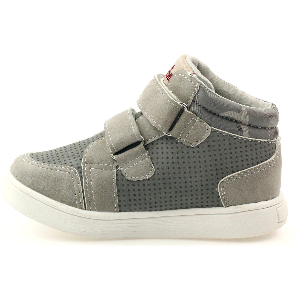 American Club Trzewiki Sportowe American 17353 Czerwone Szare Wedge Sneaker Sneakers Shoes