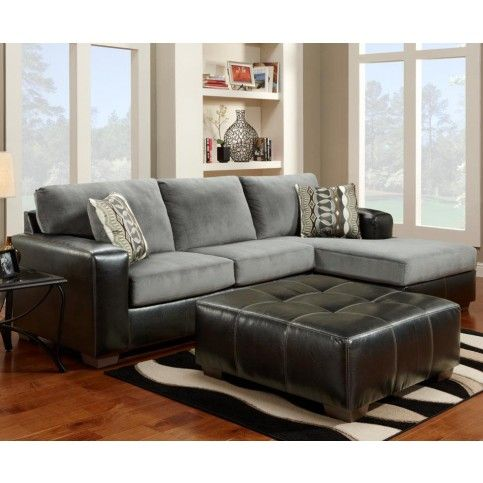 Exceptional FurnitureMaxx Cumulus Black Gray Two Toned Sectional Sofa Chaise Set, Made  In USA : Sectional Sofas